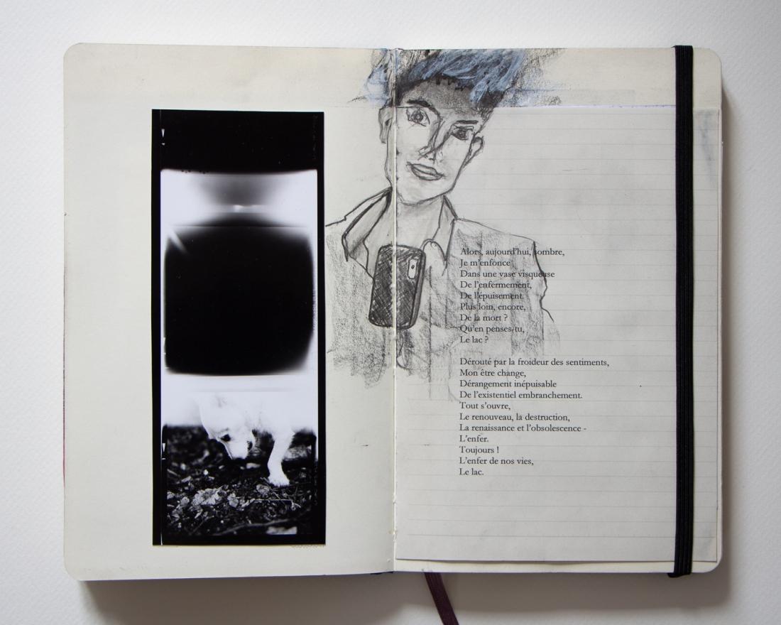 Images du carnet d'artiste du projet L'expérience des astres, work in progress de gilles picarel demarré en janvier 2019, partie 1 Le lac
