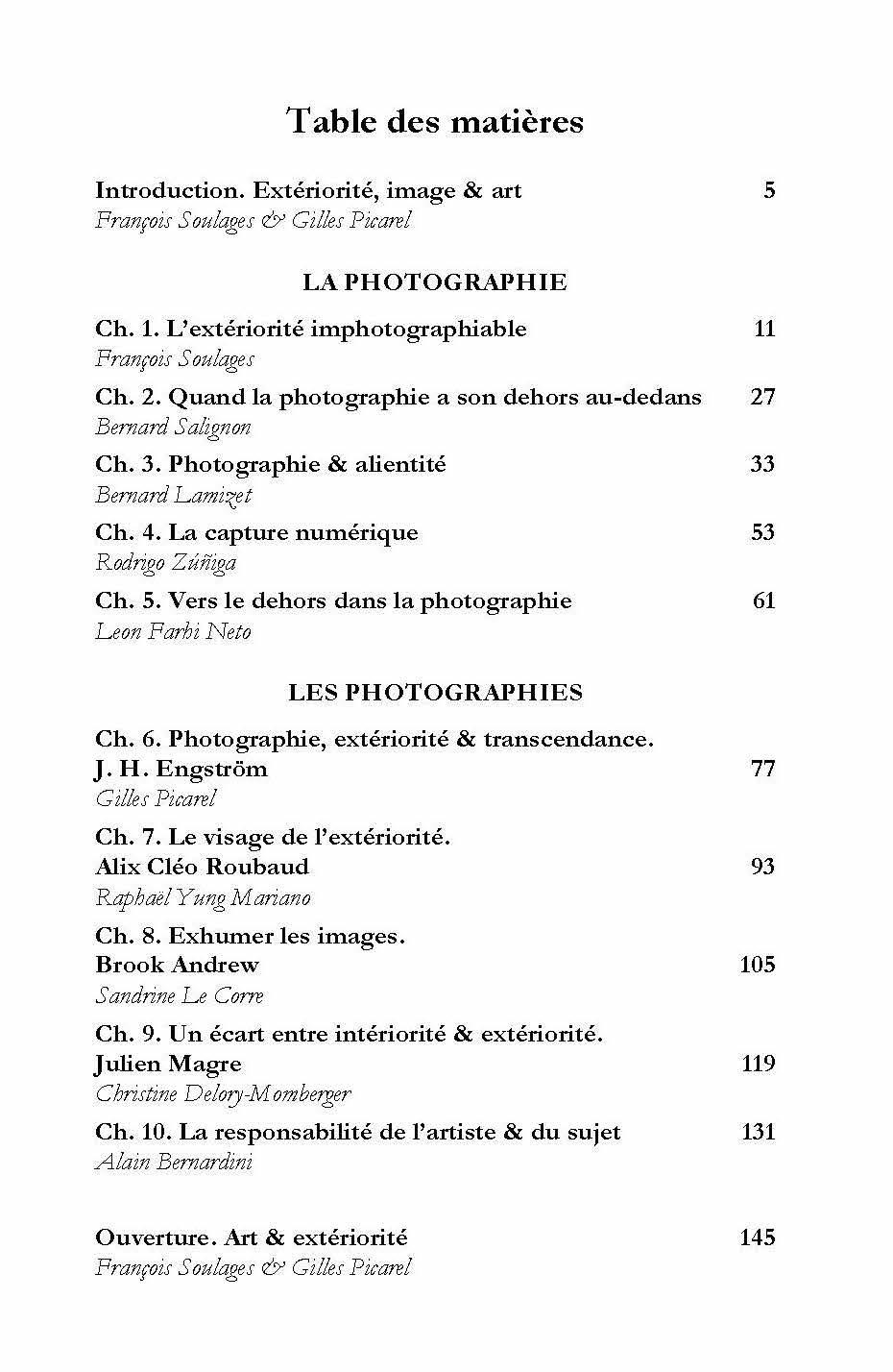 Table des matières de Photographie & extériorité publié chez l'Harmattan sous la direction de Francois Soulages et Gilles Picarel